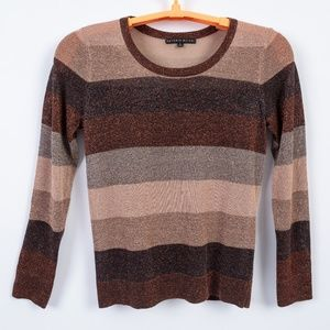 Antonio Melani Metallic Stripe Sweater Size M